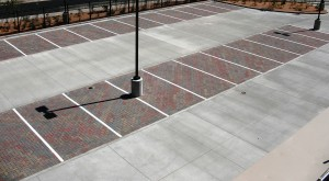 Concrete porous paver parking lot