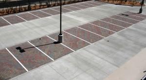 Concrete porous paver parking lot